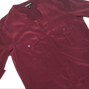 Express Burgundy 4-Pocket Shift Dress, Sz XS